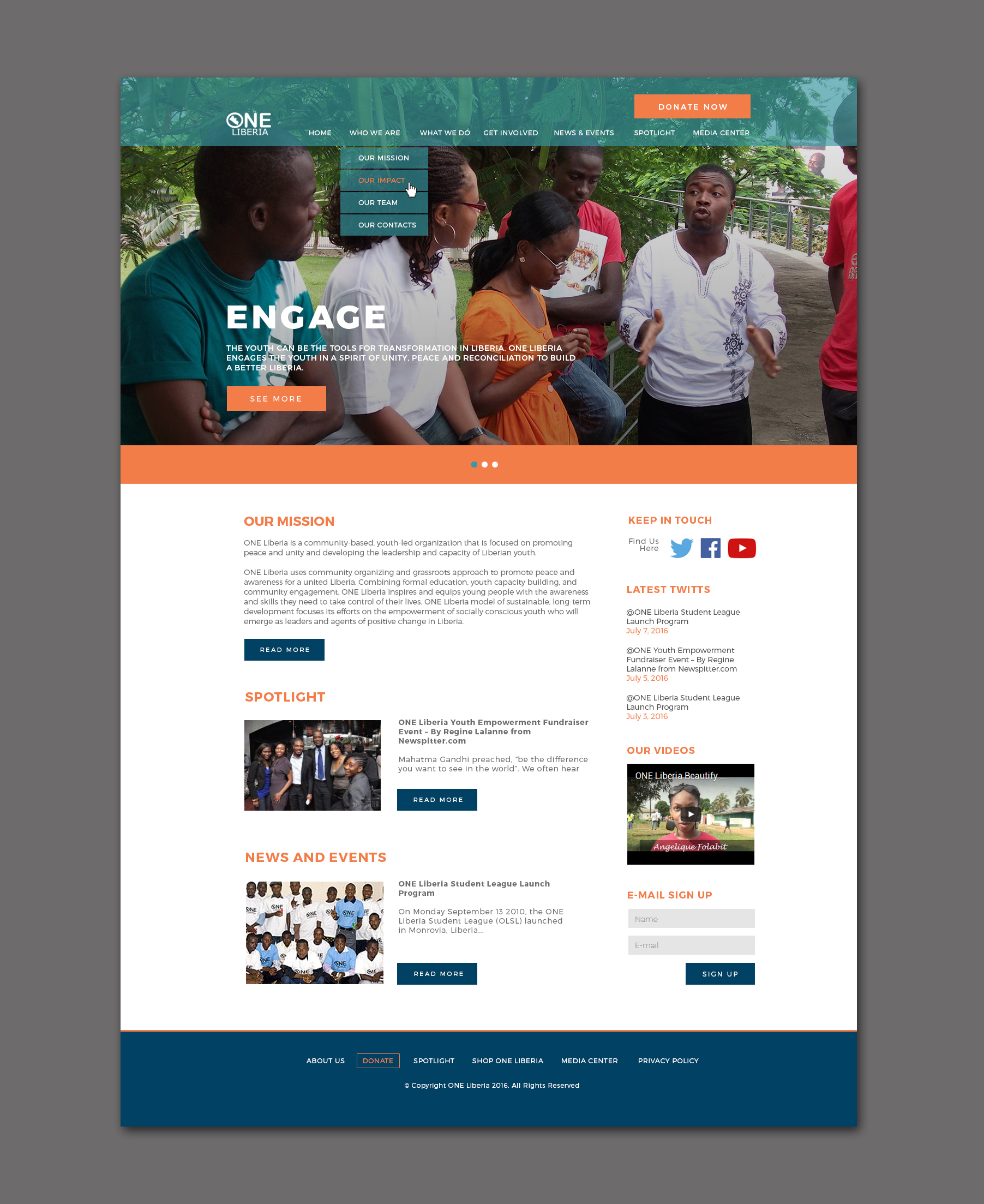 Web Design for One Liberia